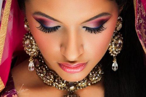 maquillaje hindu sombras rosas