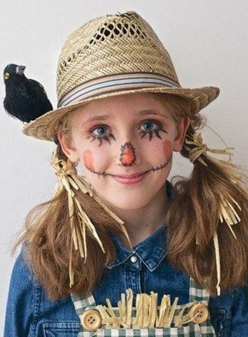 Maquillaje infantil de espantapájaros