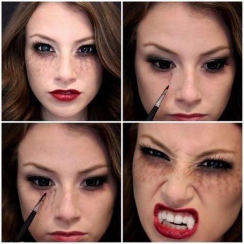 Maquillaje de Dracula con venas en los ojos