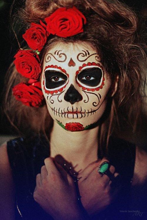Calavera MEXICANA maquillaje flores