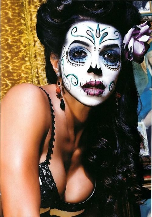 Calavera MEXICANA maquillaje tonos fríos