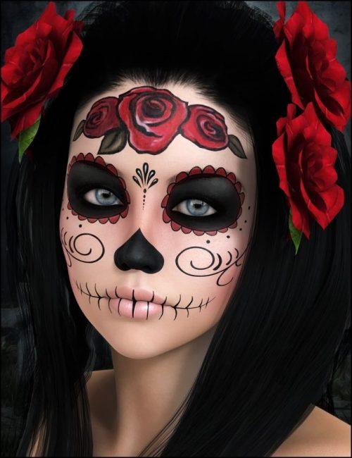 Maquillaje CATRINA detalles en rojo