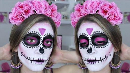 Maquillaje CATRINA detalles en rosa