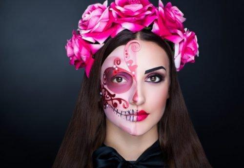 Maquillaje CATRINA todo rosa