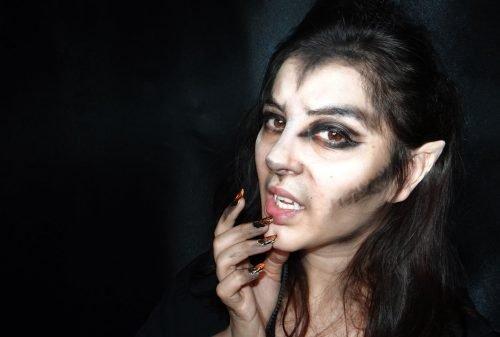 maquillaje de mujer lobo