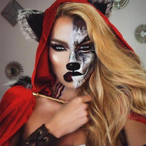 maquillaje de caperucita y lobo