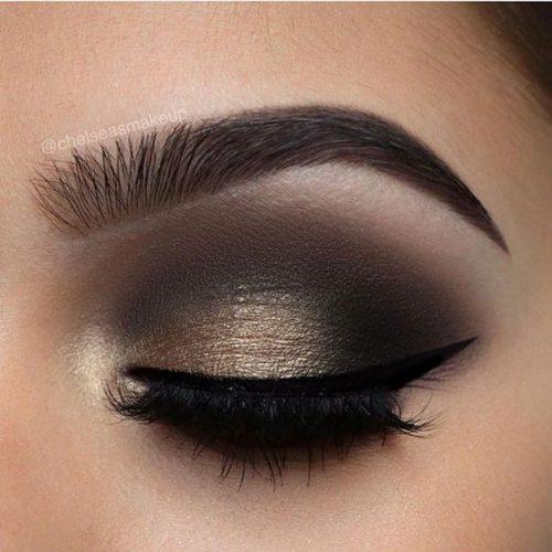 Maquillaje ojos ahumados con dorado